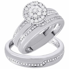 Diamond Trio Set 10K White Gold Ladies Engagement Ring Mens Wedding Band .50 Ct.