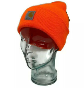 🔴 Carhartt Boys & Girls Youth Acrylic Watch Hat  Beanie Knit Brite Orange