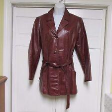 Vintage GENUINE LEATHER WOMENS Coat 11/12 Burgundy Brown Jacket WPL11935