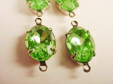 Vintage Peridot Oval Rhinestone Connectors 14x10 SILVER 2 Rings Closed Back -X4