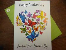 Compost Heap Butterfly Anniversary Greetings Card Blank Plain Envelope UK Made