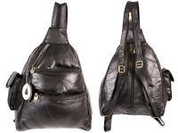 Womens Small Leather Backpack Ladies Rucksack Handbag Black Shoulder Bag  HB-187