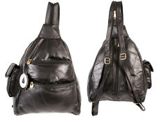 Womens Small Leather Backpack Ladies Rucksack Handbag Black Shoulder Bag  HB-187