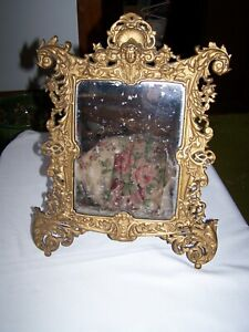 Antique Cast Iron GOLD GILT FANCY EASEL FRAME TABLE DRESSER MIRROR #3565 B&H