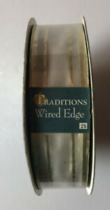 "NEW RIBBON 50 Yard Spool White with Gold Metallic Wired Edge Ribbon 1.5""/3.8cm"