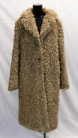 Boohoo Women's Tall Shaggy Faux Fur Coat CK6 Camel Size UK:14 US:10 NWT
