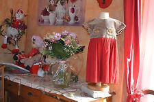 robe tartine et chocolat 2 ans haut marron glace bas rouge poche avec noeuds or
