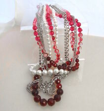 WHBM * NWOT * POUCH Multi Row Statement Pearl Red Pink Rhinestones Necklace