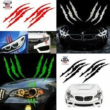 2 Pcs Monster Claw Scratch Decal Reflective Sticker for Car Headlight Decor Us