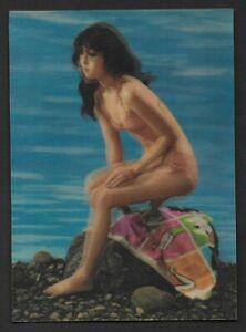 Cute Girls on Swim Suit 3d Vintage Color Postcard