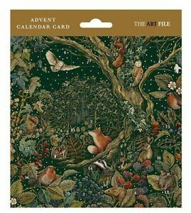 Secret Garden Animals Christmas Advent Calendar Card With White Envelope