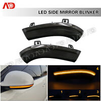 2X Sequential LED Side Mirror Lights Smoked For VW Golf GTI Jetta Passat Rabbit