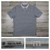 Travis Mathew Mens Large Blue PGA Rudder Slim Fit Golf Polo Shirt Performance