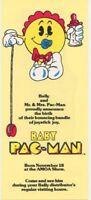 Bally Baby Pac-Man Mini Pinball FLYER 1982 Original NOS Arcade Art Print Promo