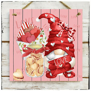 Wooden Hanging sign Love Gnome Valentine's day Wedding Love Hearts