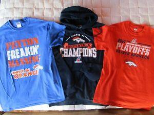 Lot of 3 Denver Broncos Medium Sweatshirt/Hoodie T-Shirts Manning Football NFL