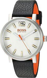 NIB Hugo Boss Men's Orange Bilbao black Chronograph Leather Watch 1550035
