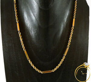 """Unisex 14k Yellow Gold Solid Rope and Bar Link Chain - 18.5 Grams 22.5"""" 3mm"""