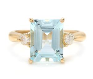 3.28 Carats Natural Aquamarine and Diamond 14K Solid Yellow Gold Ring