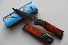 Petit Couteau Pliant de Poche Lame Acier 7 cm Manche Bois 9 cm Camping Outdoor