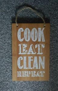 Wooden wall plaque For Kitchen Cook Eat Clean Repeat