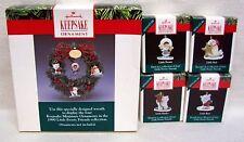 "Hallmark Ornament Set Of Five ""Little Frosty Friends"" Collection 1990 Miniatures"