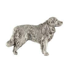 Golden Retriever (body), silver covered pin, high qauality Art Dog UK