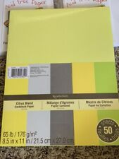"""Recollections Citrus Blend Cardstock Pack 8.5"""" x 11"""" 50 pk New"""
