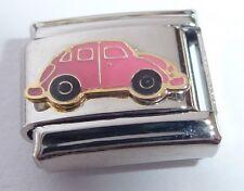 PINK CAR Italian Charm - Beetle Love Bug 9mm fits Classic Starter Bracelets E455