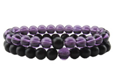 HIS and HERS Couple Distance Bracelet Black Colorful 8mm Natural Stone Beads