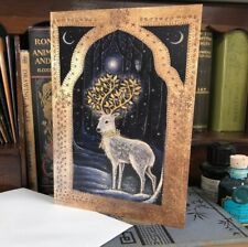 Midwinter Greetings Card by Hannah Willow. A Stag With Golden Antlers