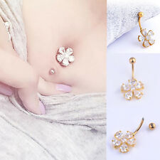 Rhinestone Flower Navel Ring Gold Plated Belly Button Bar Body Piercing Jewelry