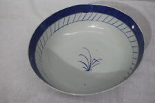 """Antique 19th Century Chinese Export Canton Blue Porcelain 10"""" Punch Bowl (1)"""
