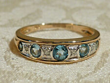 Classy Blue Natural Aquamarine & diamond eternity ring solid yellow 9ct gold