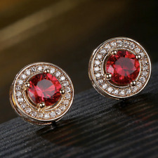 Vintage 1 Ct Round Cut Red Ruby Halo Earrings 14K Rose Gold Plated Wedding Gift