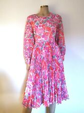 Pink Floral Chiffon Eighties Vintage Pleated Dress UK 12