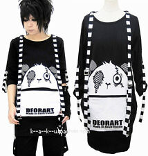 Japanese Harajuku Gothic Black White Stripes Tops Lolita Cute Bear Loose Dress