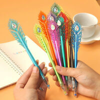 5 Pcs Funny Peacock Feather Shaped Gel Pens 12 Colors Plastic Gift Statio