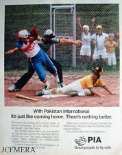 'P.I.A.' Pakistan International Airlines Advert - 1981 (Baseball) Print AD