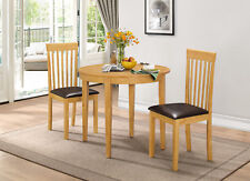 Dining Kitchen Table Set Extending Folding Round Table Two Chairs - Oak Finish