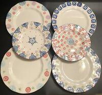 "SET (6) Boho Boutique Stoneware Plates- (4) 10.5"" Dinner (2) 8.5"" Salad/Dessert"