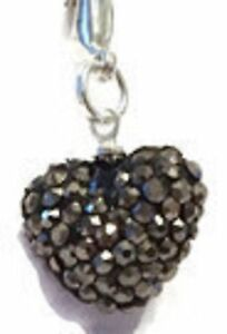 SPARKLY   GREY CRYSTAL 15mm HEART CLIP ON CHARM FOR BRACELET - S/P