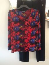 THREADZ S 10 Crushed Red Black Blue Long Sleeve Layering Mesh Top Blouse PC