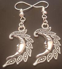 Moon earrings pagan wiccan handmade tibetan silver
