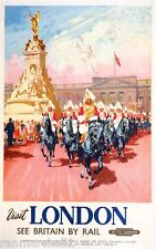 London by Rail England Great Britain Vintage Travel Advertisement Art Poster