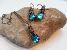 Peacock Blue Necklace in Copper Filigree with Swarovski Back to school Rush Fall