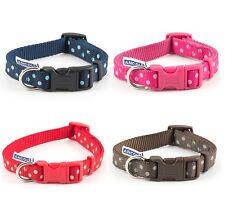 Ancol Polka Dot Dog Collar / Lead Blue Chocolate Red Raspberry Adjustable Nylon