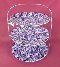 BURLEIGH CALICO BLUE TEA ROOM STYLE 3 TIER CAKE STAND - NEW/UNUSED
