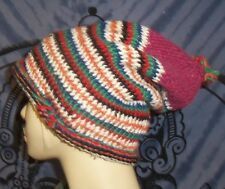 FAIR TRADE HAND KNIT BOHO HIPPY FESTIVAL SLOUCH BEANIE SKATER HAT FROM MOROCCO..