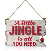 A Little Jingle 2015 Hallmark Ornament - Rustic Wood Christmas Sign - Red Bell